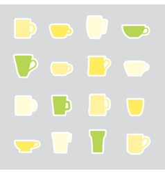 mugs and cups color simple stickers set eps10 vector image