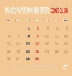 November 2016 monthly calendar template vector image
