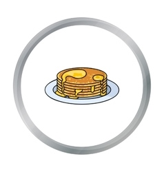 Pancakes with honey icon in cartoon style isolated vector