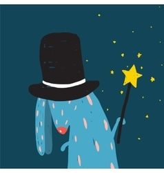 Rabbit in black hat doing tricks with magic wand vector