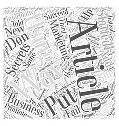 Secrets to article marketing word cloud concept vector
