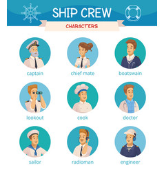 Ship crew characters icons set vector