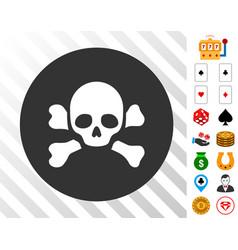 Skull black spot icon with bonus vector
