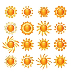 Sun symbol icons set vector