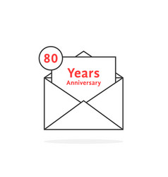 Thin line 80 years anniversary logo like open vector