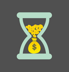 Time is money concept with golden coins and bag vector