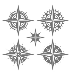 Wind Rose Retro Design Set vector image