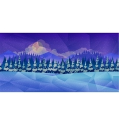 Winter forest background low poly style vector