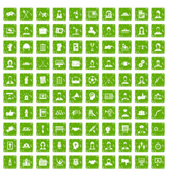 100 team work icons set grunge green vector image