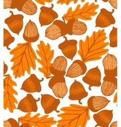 Acorn background with oak leaves vector