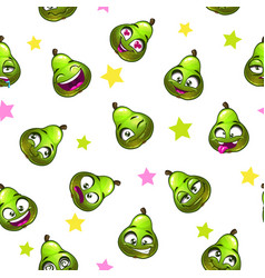 Seamless pattern with funny pear vector