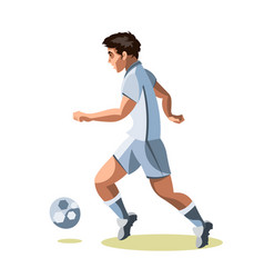 Soccer player quick shooting a ball vector