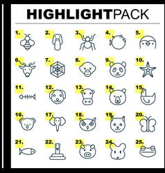 Zoology icons set collection of bear piglet vector