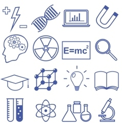Science and education flat line icons vector