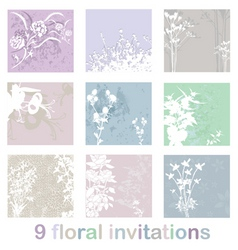 set of floral invitations vector image