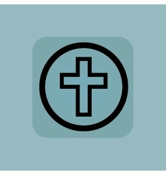 Pale blue christian cross sign vector