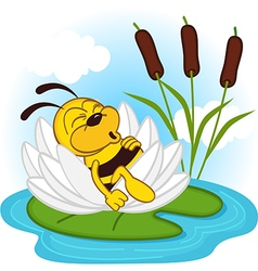 Bee sleeping in lily vector
