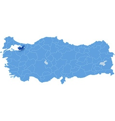 Map of turkey yalova vector