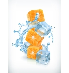 Orange cubes with ice and splashes vector