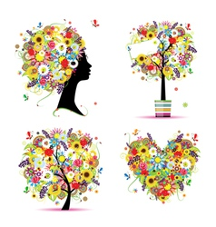 summer tree frame vector image