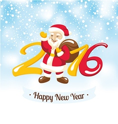 New year greeting card with santa claus vector