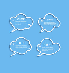 Quote outline cloud speech bubbles set vector