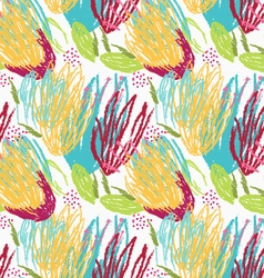 Rough brush green and yellow floral vector