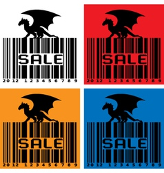 Barcode with black dragon vector