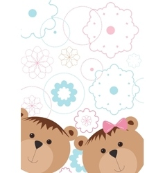 Isolated pattern with bears and flowers vector