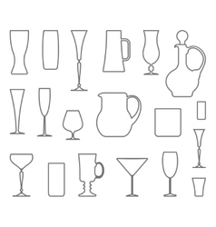 Glasswares outlines vector
