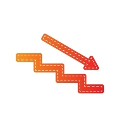 Stair down with arrow orange applique isolated vector
