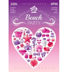Beach party invitation in red and pink colors vector