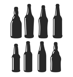 Beer bottles different shapes black icons vector image vector image