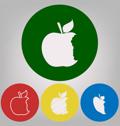 Bited apple sign 4 white styles of icon vector