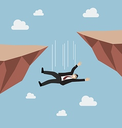 Businessman falling abyss vector