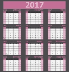 Calendar 2017 week starts on Sunday pink tone vector image vector image