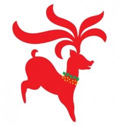 Christmas reindeer silhouette vector image vector image