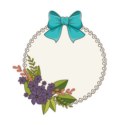 Circular frame with floral bouquet and blue ribbon vector