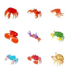 Crayfish icons set cartoon style vector image