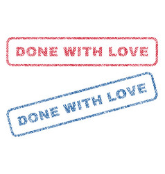 Done with love textile stamps vector