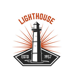 emblem template with lighthouse isolated on white vector image vector image
