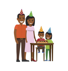 Family yogrther at table with happy birthday cake vector