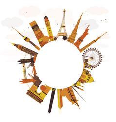 Famous international landmarks vector