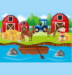 farm scene with boy and bulls by the stream vector image vector image