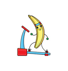 Flat sketch banana running on treadmill vector