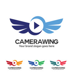 fly camera logo camera with wing and play button vector image vector image