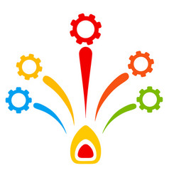 Gear fireworks flat icon vector