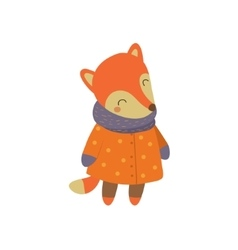 Girl Fox In Orange Warm Coat Childish vector image