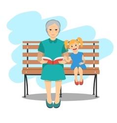 Grandma with granddaughter vector