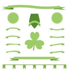 Green eco ribbons set of St Patrick Day vector image
